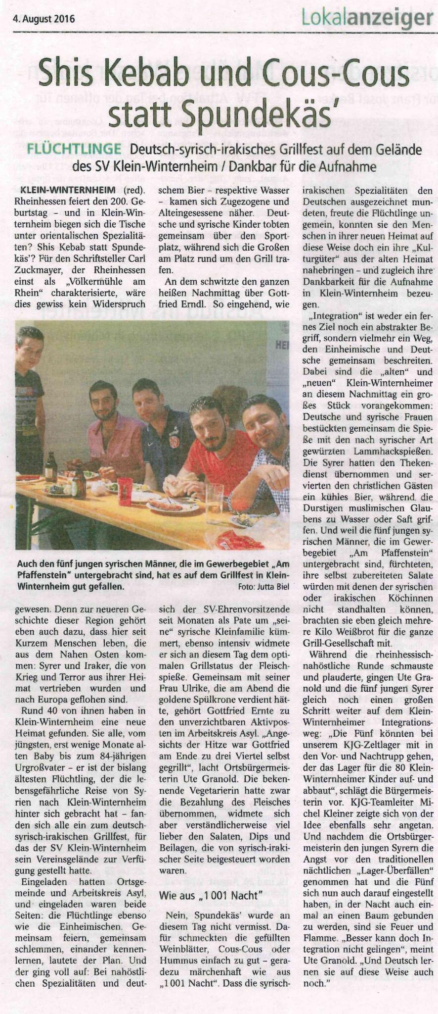 Zeitungsbeitrag über die Flüchtlinge in Klein-Winternheim