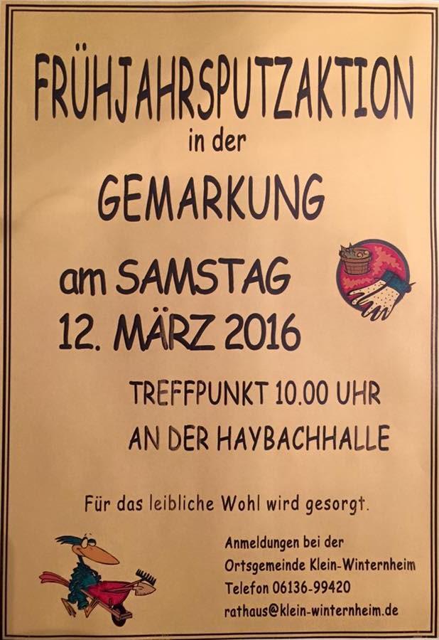 Frühjahrsputzaktion am 12.03.2016 ab 10:00 Uhr Haybachhalle